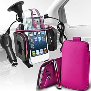Nokia Lumia 710 premium protección PU ficha de extracción Slip In Pouch Pocket Cordón piel con lápiz óptico retráctil, Jack de 3,5 mm auriculares auriculares auriculares, cargador de coche USB Micro 12v y soporte universal de la succión del parabrisas del coche Vent cuna rosa fuerte por Spyrox