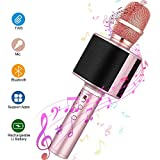 Wireless Karaoke Microphone, Mbuynow Bluetooth TWS Karaoke Machine Portable Handheld Mic with Speaker, Phone Holder, Camera Remote for Kids Adults Party, iPhone/Android/Smartphone (Rose Gold)