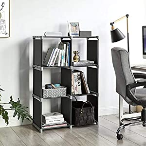 SONGMICS 6-Cube Bookcase, DIY Cube Storage Rack, Staircase Organiser in Living Room, Bedroom, Children's Room, Study, for Toys and Daily Necessities, Room Divider, Black LSN63H