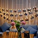 Photo Clips,Boxwinds LED Photo Clips String Lights, 20 Photo Clips, 2.2Meter Warm White Steady Light for Hanging Pictures Photos Cards, Batteries Powered for Valentine's Day, Christmas, Birthday, Party, Wedding (Warm Light)