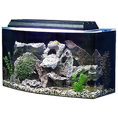 SeaClear 36 gal Bowfront Acrylic Aquarium Combo Set, 30 by 15 by 21 , Black