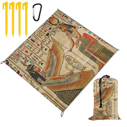 Rachel Dora Ancient Egyptian Women Girl Culture Large Picnic Blanket Outdoor Beach Handy Mat for Travel, Camping, Hiking, Water-Resistant Backing Handy Camping BBQ Hiking Mat 59 x 57 inch