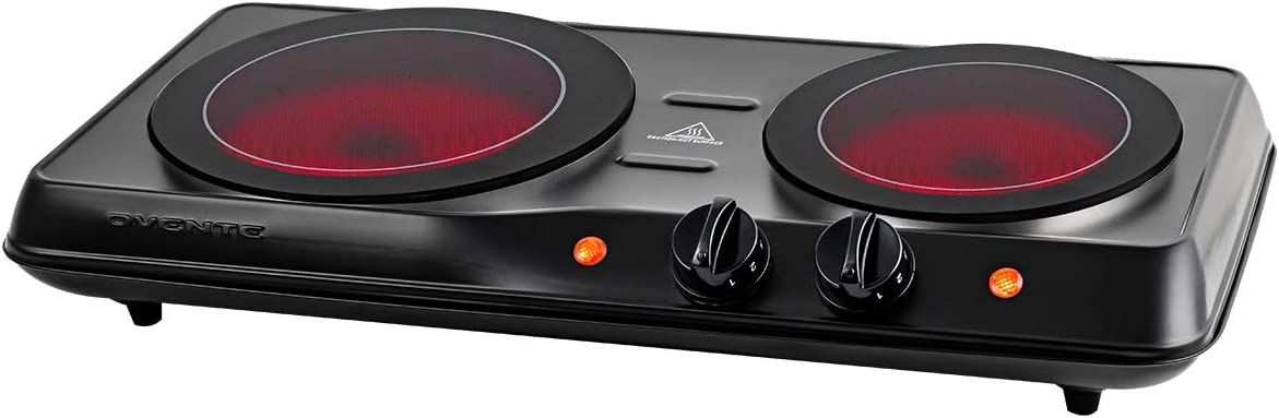 Ovente 1700W Double Hot Plate Electric Countertop Infrared Stove 6.5 & 7 Inch with 5 Level Temperature Control & Stainless Steel Base, Easy Clean Portable Cooktop Burner for Cooking, Black BGI102B