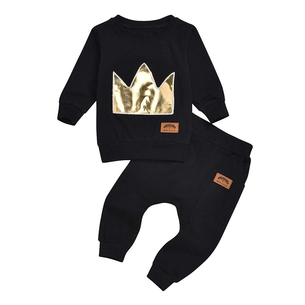 Vincent Baby Boys Girls Long Sleeve Crown Hooded Tops Pants Outfits Set Tracksuit