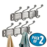 mDesign Wall Mount 8 Hook Steel Storage Organizer Rack for Coats, Hoodies, Hats, Scarves, Purses, Leashes, Bath Towels & Robes - Pack of 2, Sturdy Metal with Brushed Back and Chrome Hooks
