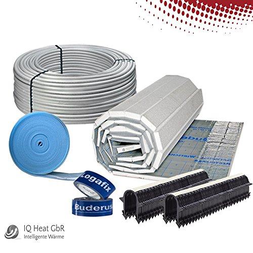 Buderus Fußbodenheizung 60 m² Komplettset / Heizung Tackerplatte 30-3 mm PE-RT Rohr 17x2