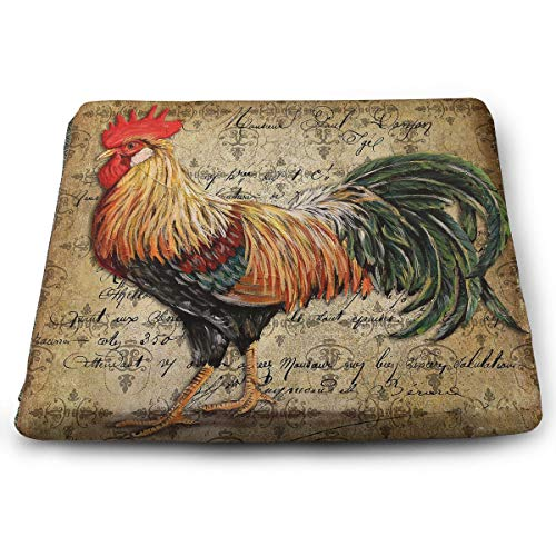 (IEIKKD Vintage Rooster Art Seat Cushion Pads Memory Foam Chair Pad Reversible Square Seat Cover Delicate Printing)