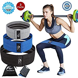 Resistance Bands Hip Exercise Bands Booty Bands Workout Bands-Cotton Fitness Loop Hip Circle Exercise Legs & Butt- Activate Glutes Thighs Thick Wide Cloth Bootie Training -Set of 3 (1 YEAR WARRANTY)