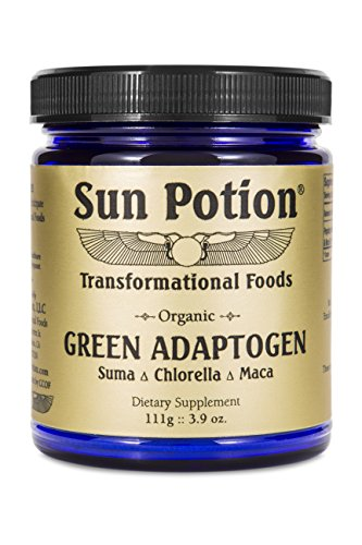 Green Adaptogen Powder by Sun Potion – Organic Chlorella, Maca, and Suma Blend – Vegan Superfood and Health Supplement – Boost Energy, Strengthen Immune System – 111g Jar of Goodness For Sale
