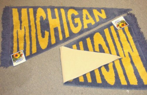 - Blue & Yellow University of Michigan Wolverines Plush Pennant Area Rug / Floor Mat