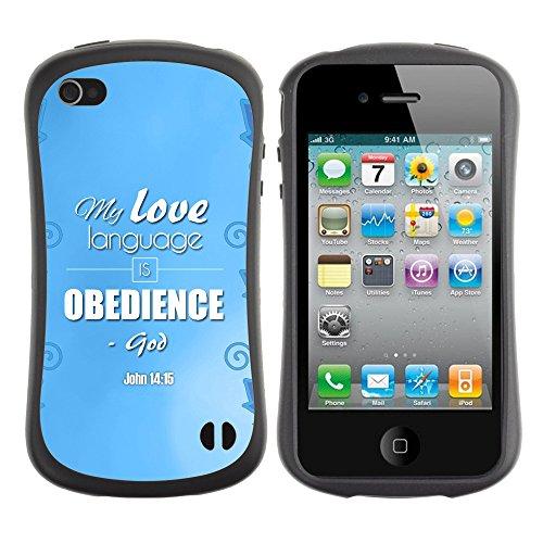 DREAMCASE Citation de Bible Silicone et Rigide Coque Protection Image Etui solide Housse T¨¦l¨¦phone Case Pour APPLE IPHONE 4 / 4S - MY LOVE LANGUAGE IS OBEDIENCE - JOHN 14:15