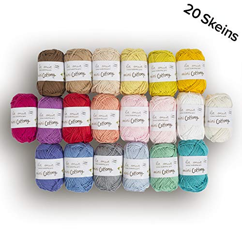 20 Skein %100 Cotton Mini Yarn, Total 17.6 Oz Each 0.88 Oz (25g) / 65 Yrds (60m), Light, Dk, Worsted Assorted Colors (Yarns Cotton Yarn)