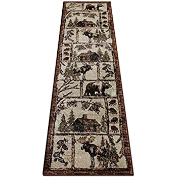 Cabin Style Area Rug Runner 2 Feet 2 Inch X 7 Feet 2 Inch Design L-362