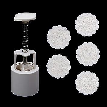 Molde para tartas de luna, diseño redondo 3D, 50 g, 5 sellos de flores: Amazon.es: Hogar