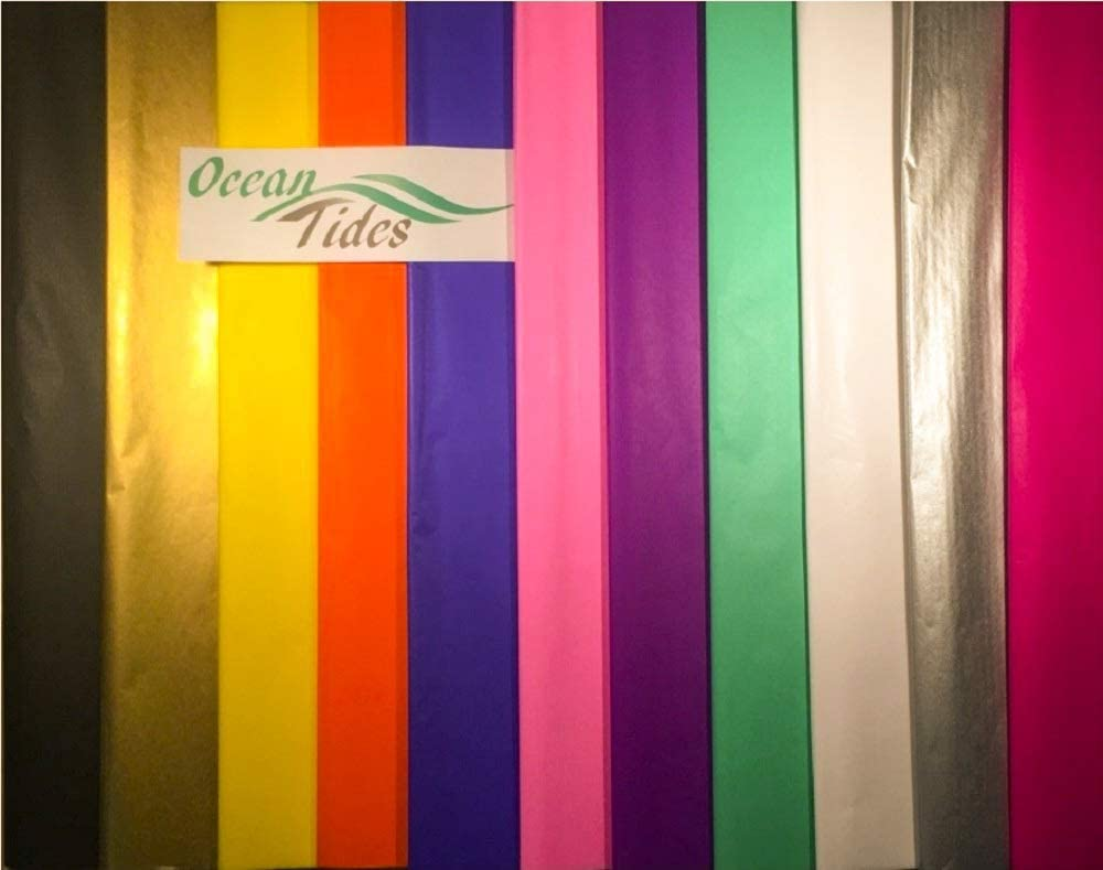 Tissue Paper Gift Wrap Bulk All Colors Wrapping 100 200 300 or 500 Sheets 15 x 20 Assorted Black Blue Fuchsia Gold Green Orange Pink Purple Silver White Yellow (Assorted, 500 Sheets)