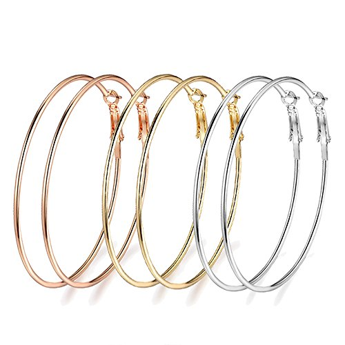 Rongxing 3 Pairs Stainless Steel Hoop Earrings, Gold Plated Rose Gold Plated Silver Plated For Women