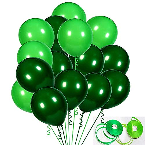 (100Pack Green Balloons, 12Inch Green Latex Balloons Premium Helium Quality Dark Green Balloons Light Greeen Balloons for Party Supplies and Decorations(with Green)