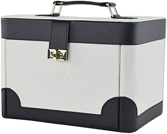 MIIAOPAI-Jewelry Box Joyero, Organizador De Joyas, Estuche De Viaje PortáTil, para Anillos, Aretes, Collares, Forro De Terciopelo (Blanco): Amazon.es: Hogar