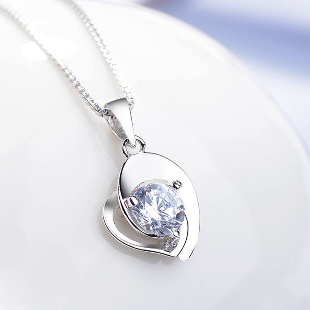 Weiduoli 925ハート型ネックレス純銀製鎖骨チェーン愛のペンダントの女性ギフト   B07M5RM3XD