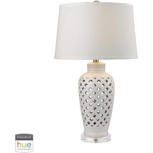 Amazon.com: Lámpara de mesa con acabado blanco acrílico ...