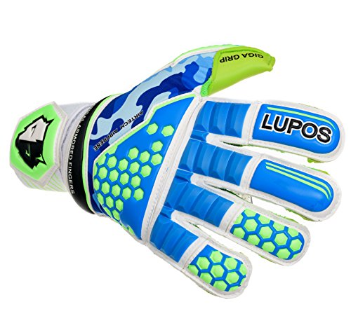 LUPOS Goalie Gloves Youth, Kids, Adult Tactical. Goalkeeper Gloves with 3D Tech Punch Zone, Removable Pro Fingersave, 4 mm German Latex Palm, Camo Breathable Airprene Backhand, Hybrid Cut (6)