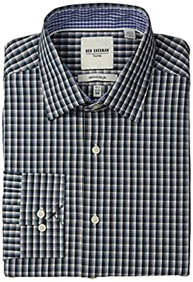 Ben Sherman Men's Slim Fit Multi Plaid Spread Collar Dress Shirt