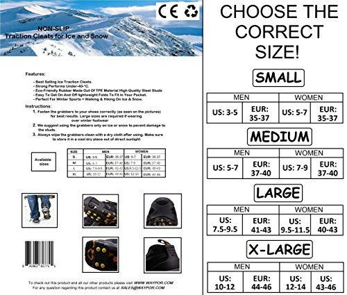 WAYPOR Ice Grips, Traction Cleats, Ice Cleat, Easy Slip On, Outdoor Durable, 10 Steel Studs, Stretchable, Prevent Slipping from Ice/Snow, Extra Studs Included in Each Package. 3