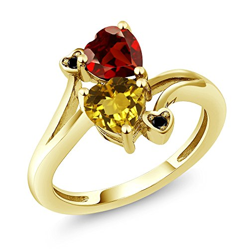 Yellow Citrine Red Garnet 18K Yellow Gold Plated Silver Ring ()