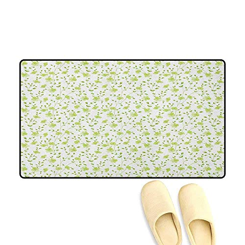 - YGUII Flower Door Mat Small Rug Morning Garden Freshness Greenery Modern Old Fashioned Silhouette Artwork Size:16X23.6in (40x60cm) Pale Green White