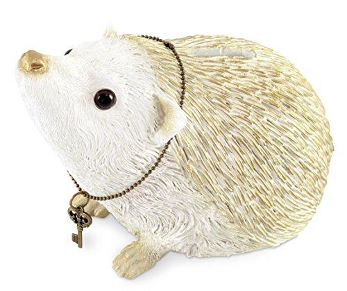 - Comolife Lucky Motif Piggy Bank , Cute Hedgehog , Color: White And Gold , Natural Design