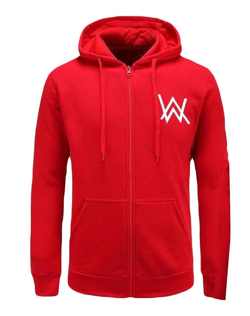 YUNY Mens Hood Zip-Front Long Sleeve Relaxed Fashion Jacket Sweatshirts Red XL
