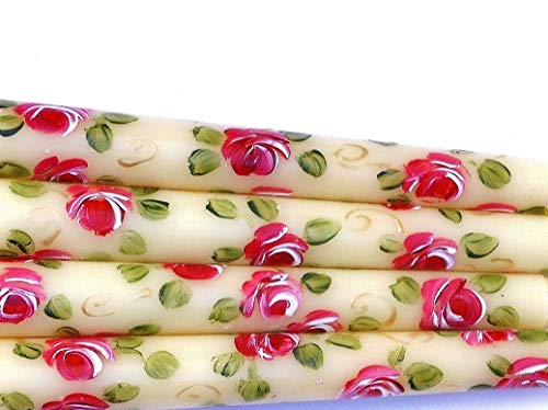 Set of Two or Four Short 6 Inch Long Ivory Taper Candles with Hand Painted Deep Pink Roses and Golden - Rosebud 2 Charms