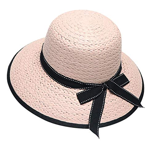 Tantisy ♣↭♣ Women and Girls Spring Summer Outdoor Bowknot Sun Hat/Bucket Hat/Beach Sun Protection Hats/Parent-Child Pink
