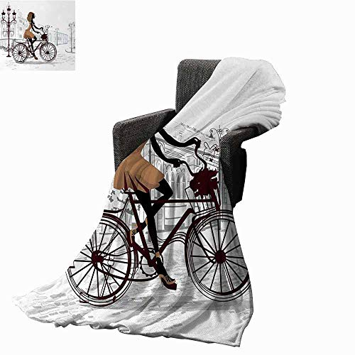 Teen Room Faux Fur Throw Blanket,Young Girl in Paris Streets with Bicycle French Style Display Reversible Soft Fabric for Couch Sofa Easy Care (70