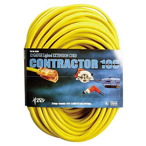 Cord Extension Heavy Vinyl Duty (Southwire 02588-0002 Vinyl Extension Cord, 50', 1 Outlet, Yellow)