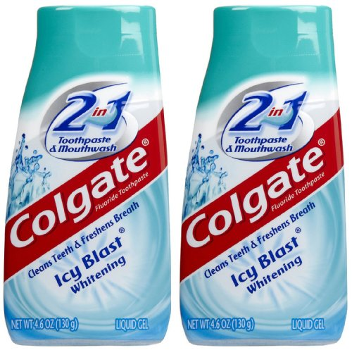 Colgate 2 in 1 Whitening Icy Blast Toothpaste & Mouthwash, 4.6oz, 2pk