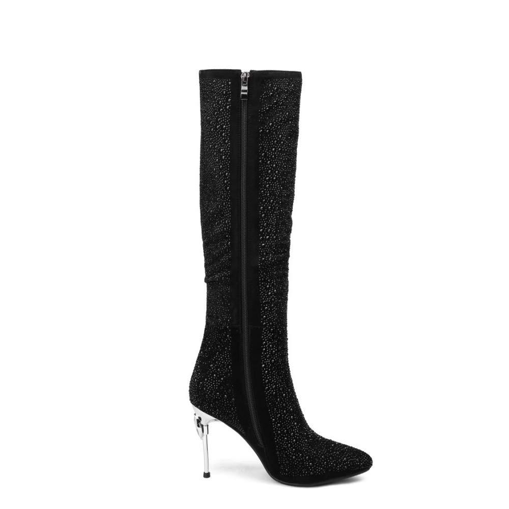 Kniehohe Stiefel Für Frauen Funkelnd Funkelnd Funkelnd Lange Stiefel Stilettos Ferse Spitze Fashion Party 46b5de