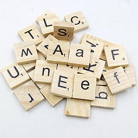 BONYTAIN 100 piezas de madera alfabeto Scrabble azulejos negro letras y números inteligente juguetes letras al azar: Amazon.es: Hogar