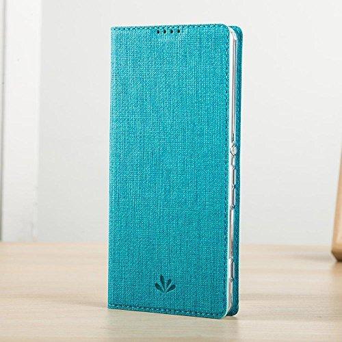 LUSHENG Sony Xperia XA Ultra Funda Slim Fit Cuero Tapa + Transparente Gel Silicona TPU Case Cover - Oro Azul