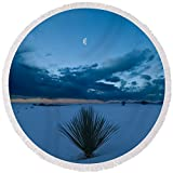 Pixels Round Beach Towel With Tassels featuring ''White Sands Moonrise'' by Steve Gadomski