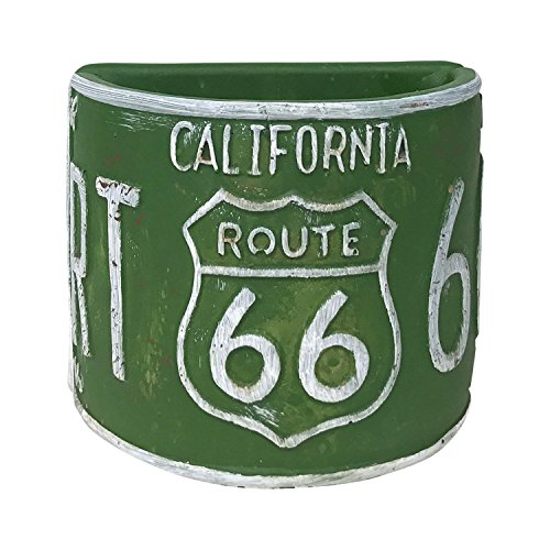 Rustic Route 66 Half-Round Planter, Vintage Style License Plate Design (Green)