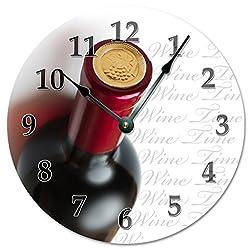 Sugar Vine Art 15.5 XTRA LARGE - WINE TIME Wall Clock - Decorative Round Wall Clock