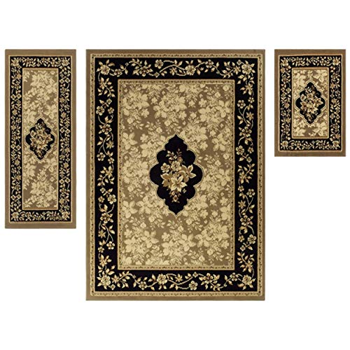 Superior Elegant Elton Area Rug Set, 3 Piece, Dark Beige/Ivory