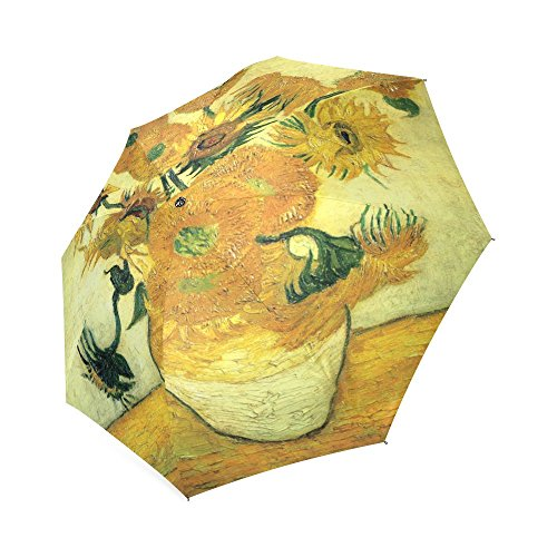 Fashionable Sunflower by Vincent Van Gogh Oil Paintings Compact Travel Windproof Rainproof Umbrella