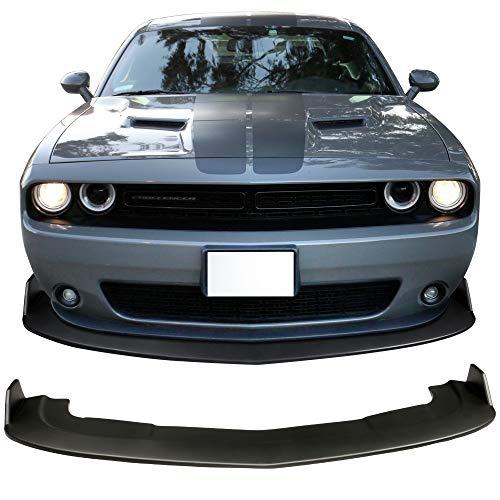 Front Bumper Lip Fits 2015-2019 Dodge Challenger SXT | Matte Black PP Front Lip Splitters Chin Spoiler Polypropylene by IKON MOTORSPORTS | 2016 2017 2018