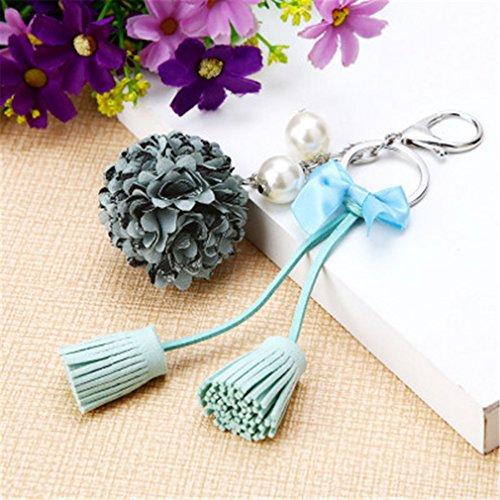 MOONER Chiffon Tassel Car Key Chains Couple Bag Ornaments Creative Fashion Charm Flower Ornaments Keychain 5
