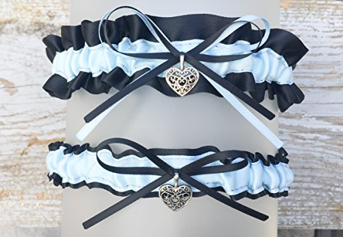 Sexy Black Light Blue Satin Bridal Wedding Garter Set - Small Swirl Heart Charm