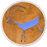 Pixels Round Beach Towel With Tassels featuring ''Antelope Petroglyph'' by Jerry McElroy