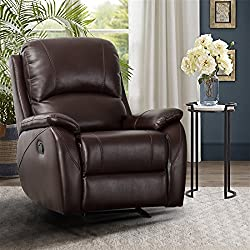 CANMOV Rocker Recliner Chair - Classic and Traditional Bonded Leather Single Manual Reclining Chair, 1 Seat Motion Sofa Recliner Chair with Padded Seat Back, Brown