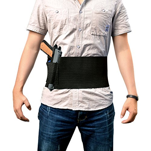GVN-Tactical-Adjustable-Belly-Band-Holster-for-Concealed-Carry-with-2-Magazine-Pouch-Fits-Glock-Ruger-LCP-MP-Sig-Sauer-Ruger-Kahr-Beretta-1911